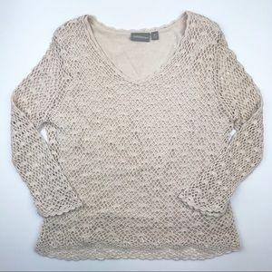 Croft & Barrow beige crocheted sweater top R12